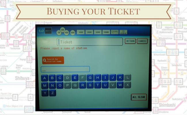 Tokyo Metro - Buying your ticket - Alphabet Selection