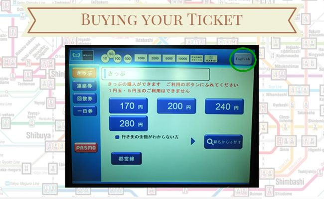 Tokyo Metro - Buying your ticket - Language Selection