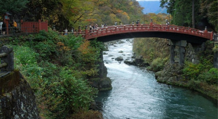 Shinkyo Bridge, or Sacred Bridge, over Daiya River. Nikko, Japan