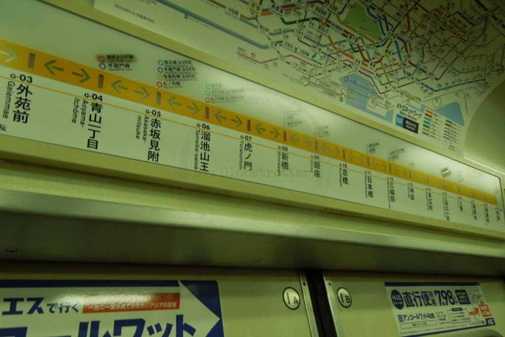 Simple display that indicates the direction you are travelling and the next station