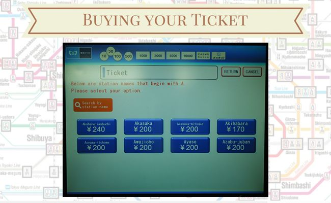 Tokyo Metro - Buying your ticket - Station Name Selection